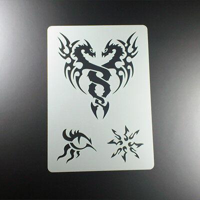 A4 Schablone Dragon Tattoo Drachen Tribal Auge - BT401 ()