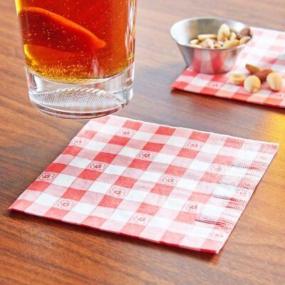 Gingham Galore Red White Check Picnic BBQ Party Paper Beverage Napkins 250 ct ()