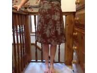 Turquoise and brown floral skirt