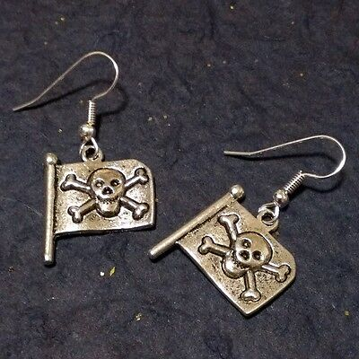 Pirate Earrings For Men (Blow The Man Down..Pirate Earrings.Flag Skull Crossbones, Dead Men Tell No)