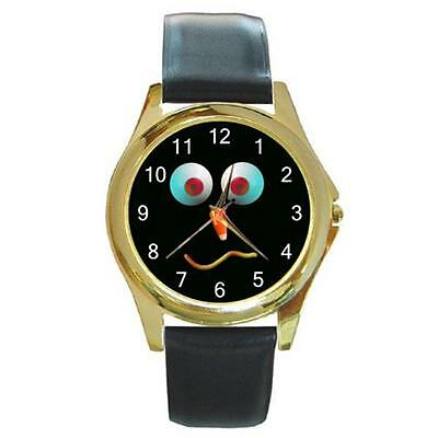 Googly Eyes Halloween Face (HALLOWEEN FUNNY FACE GOOGLY EYES CANDY CORN GOLD-TONE WATCH LEATHER BAND)