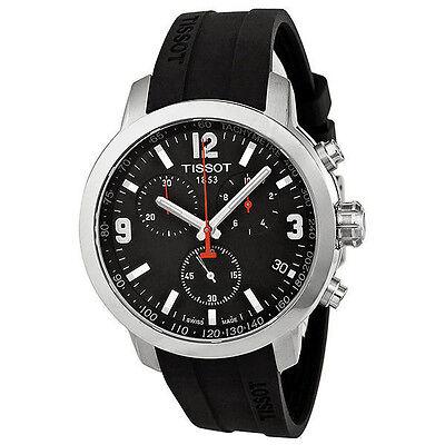 New Tissot PRC 200 Chronograph Black Dial Rubber Men's Watch T0554171705700