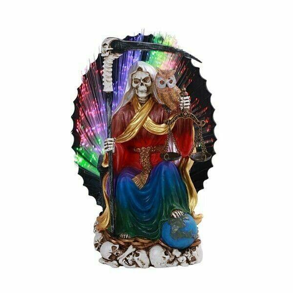 Pacific Giftware PT Seated Santa Muerte Saint Death Grim Reaper LED Color...