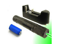 Hot Powerful 5mw 532nm Green Laser Pointer Pen Lazer Visible Beam Light + 16340 Battery + Charger