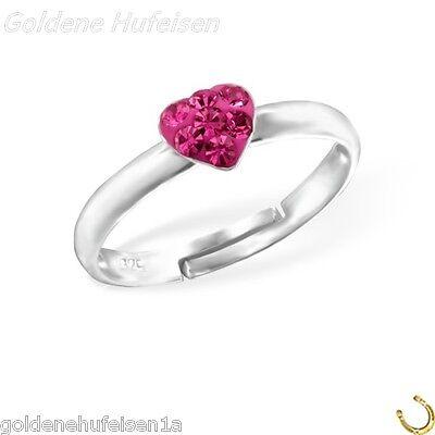 Pink Kristall Herz Kinder Ring 925 Echt Silber Kinderschmuck Geschenkidee z-417
