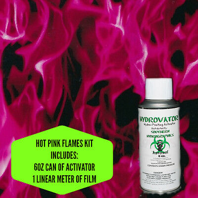 Hydrographic Film Water Transfer Hydro Dip 6oz. Activator Hot Pink Flames Kit