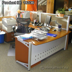 Mid Tone L Suite Desk with Storage Pedestal and Printer Stand