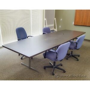 Espresso and Chrome 8' Meeting Conference Board Room Table