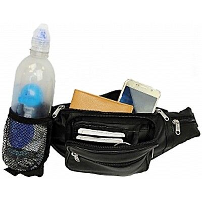 5 POCKET LAMBSKIN LEATHER  FANNY PACK WITH NETTED WATER BOTTLE HOLDER ()