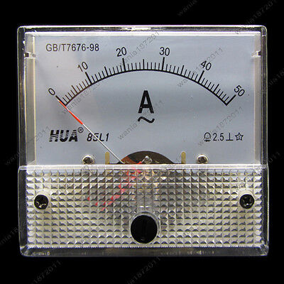 Ac 50a Analog Ammeter Panel Pointer Amp Current Meter Gauge 85l1 0-50a Ac