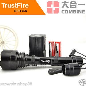 TrustFire 1600Lm CREE XM-L T6 LED Flashlight Torch Remote Pressure Switch 1 Mode