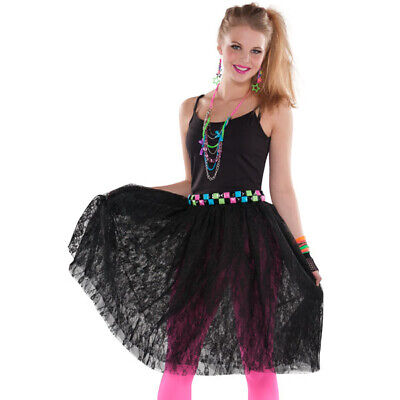 80's Costumes For Halloween (Awesome 80's Black Lace Skirt for Women - Halloween Pop Concert)