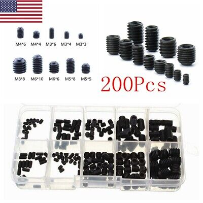 Metric Hex Head Set Screw Grub Screw Assortment Cup Point Case Black Alloy Steel