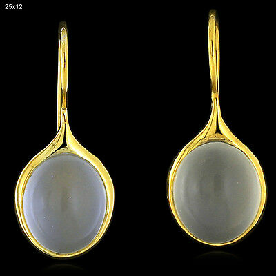 11.9 ct Moonstone 14 k Yellow Gold Vintage Style Hook Earrings Handmade Jewelry