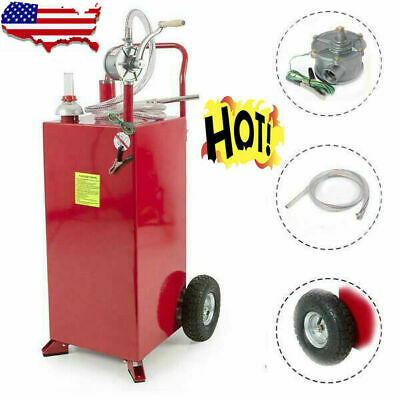 Auto Pro 30 Gallon Gas Fuel Diesel Caddy Transfer Tank Container W Rotary Pump