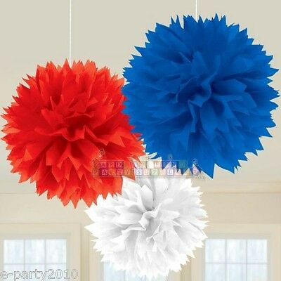 FLUFFY RED WHITE AND BLUE PATRIOTIC POM DECORATIONS ~ Birthday Party Supplies