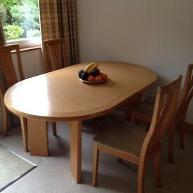 High quality solid oak skovby table & 4 chairs
