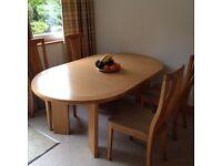 Oak skovby table & 4 chairs