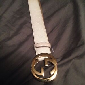 Authentic White and gold gucci belt