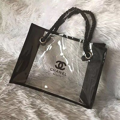 New Chanel Beaute Clear Transparent Makeup Pouch Cosmetic Bag Medium