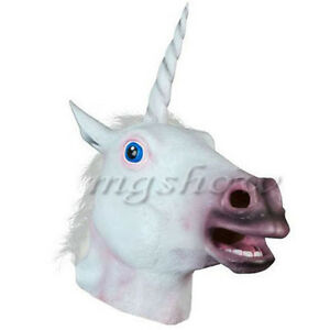 Unicorn Horse Head Mask Rubber Latex Panto Creepy Fancy Dress Costume Halloween