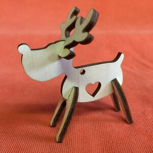 10 RUDOLPH REINDEER n40 hanging & heart  PLAIN WOODEN CHRISTMAS SHAPE CRAFT TAG