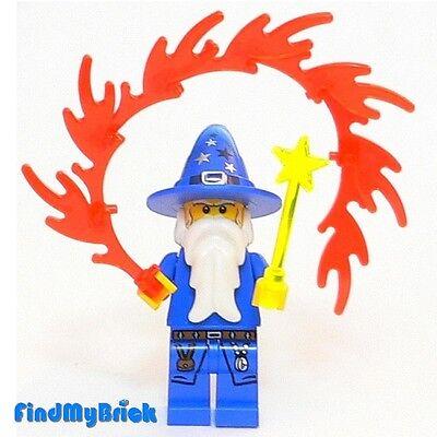 C106 Lego Custom Wizard Minifigure with Magic Wand & Fire Magic - Blue - NEW - Custom Magic Wands