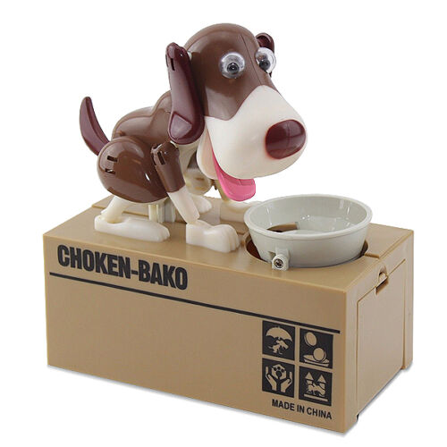 Funny Brown Dog Stealing Eating Piggy Coin Saving Bank Home Decor Gift US Seller