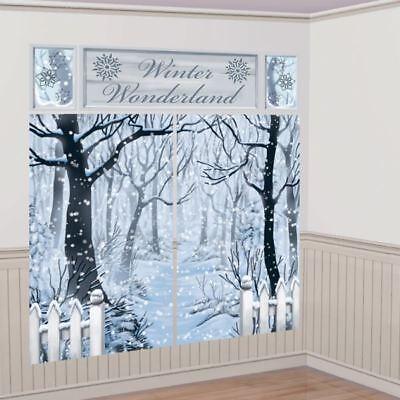 Christmas Party Winter Wonderland Snow Forest Scene Setter Decoration - Snow Scene Setter