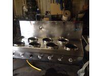 7 burner Chinese wok cooker. Gas. Restaurant / takeaway use