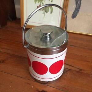 Retro Vintage Antique Red Dot White Ice Bucket