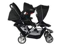 black graco double tandem pushchair. resad description