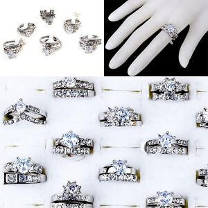 Wholesale Lots 5pcs Clear Cubic Zircon CZ Platinum P Womens Wedding Bridal Rings
