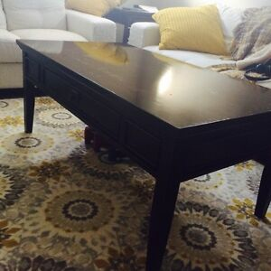Solid wood, brown coffee table and two end tables