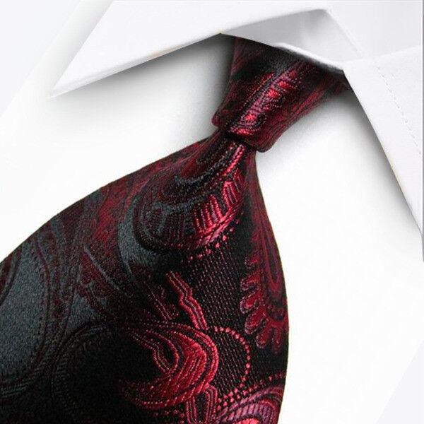 Classic Men/'s Tie Paisley JACQUARD WOVEN Tie Necktie 100/% Silk F014 Red Black US