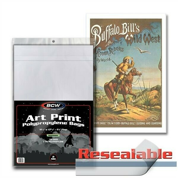 Pack / 100 BCW 11 x 17 Art Print Archival 2-mil Acid Free Poly Bags 11x17 covers