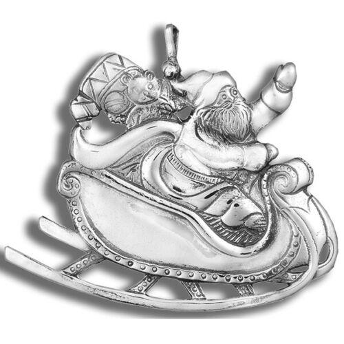 "Hand & Hammer Sterling Ornament, Santa in Sleigh 1.5"""