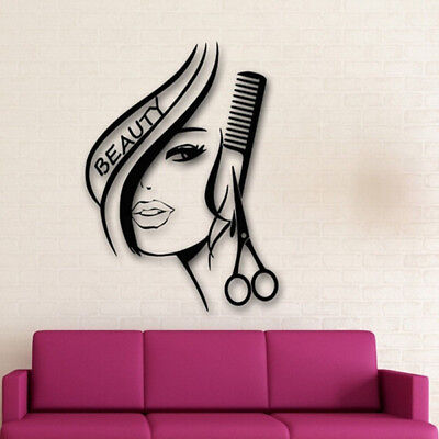 Removable Hair Beauty Salon Barbershop Sexy Girl Wall Decoration Decal Stickers  - Salon Decorations