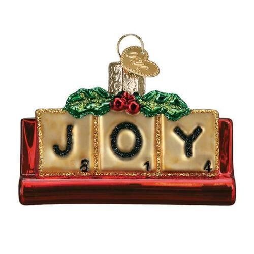Old World Christmas JOYFUL SCRABBLE (44160)N Glass Ornament w/ OWC Box