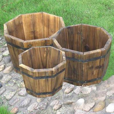 FSC Fir Octagonal Wooden Garden Planters Set of 3 Flower Pots Small & Large