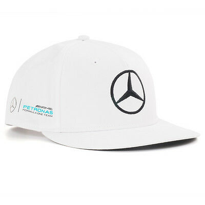 2017 OFFICIAL F1 Mercedes AMG Lewis Hamilton Flat Brim Peak Cap Hat WHITE – NEW