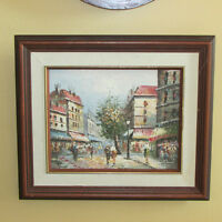 SMALL OIL PAINTING STREET SCENE BUILDINGS PEOPLE SIGNED MEACCI