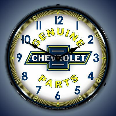 "Vintage style ""Genuine Chevrolet Parts"" lighted advertising clock USA Made"