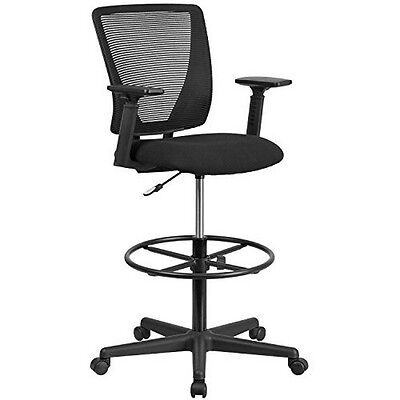 Ergonomic Mid-back Mesh Drafting Chair W Black Fabric Seat Adjustable Foot Ring