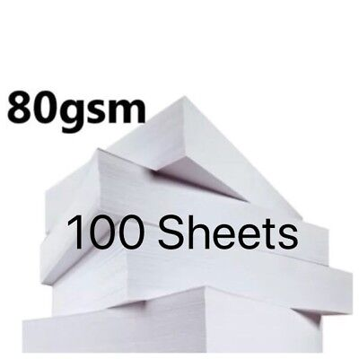 100 Sheets A4 80gsm Paper Bright White Printer Copier Office Home Copy Printing