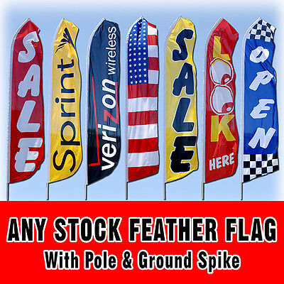 Any 15 Stock Tall Swooper Sign Advertising Flag Feather Banner Pole Spike