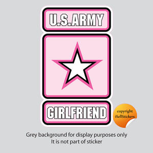 AR-2142  Pink Army Girlfriend Military Car Bumper Sticker Vinyl Window Decal