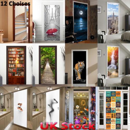 Home Decoration - 3D Door Wall Sticker Decals Self Adhesive Waterproof Scenery Mural Home Decor UK
