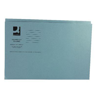Q-Connect Blue Square Cut Folder Medium Weight 250gsm Foolscap [KF01191]