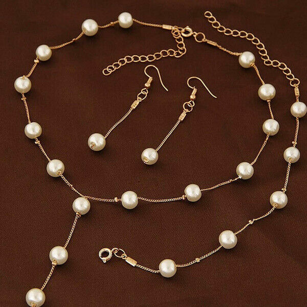 Fashion Women White Pearl Necklace Drop Earrings Bracelet Wedding Jewelry Set